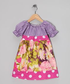 Pink Polka Dot Floral Bouquet Babydoll Dress - Girls by Ruby and Rosie #zulily #zulilyfinds