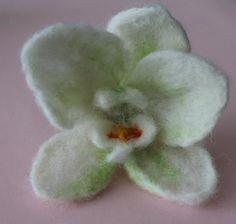 felted brooch / orchidea/ flower brooche by RozalkaFeltAndWool