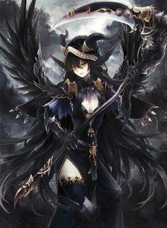 "Respect Anime Girls - yukamononoke:""Astema, the Fallen Angel of Desolation"" - Cool Anime Girl, Beautiful Anime Girl, Anime Art Girl, Manga Girl, Anime Girls, Anime Angel Girl, Dark Fantasy Art, Anime Fantasy, Fantasy Girl"