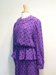 Amazing 1980s Purple Polka Dot Chiffon Blouson Peplum Dress.