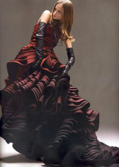 Love the wine ombre -  Natasha Poly by Horst Diekgerdes for Vogue Nippon May 2007