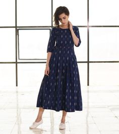 Navy Floral Ikat Maxi is part of Dresses - Kalamkari Dresses, Ikkat Dresses, Casual Frocks, Casual Dresses, Summer Dresses, Kurta Designs Women, Blouse Designs, Frock Fashion, Fashion Dresses