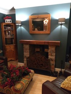Red brick fireplace against Inchyra blue with mustard accents.