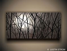 """American handmade large giclee print called """"Moonlight"""". A beautiful silver painting of the moon through the trees."""