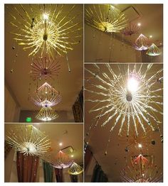 DIY Umbrella Chandeleir with step by step photo tutorial. Truly a one of a kind work of art that will have guests looking upward when then they enter the room.