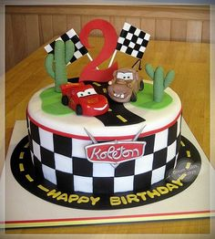 Cars Cake what are the odds it would have my son's name on it already HAHA Disney Cars Birthday, Disney Cars Cake, Disney Cars Party, Car Cakes For Boys, Cars Theme Cake, Lightning Mcqueen Cake, Lightening Mcqueen Birthday Cake, 2 Birthday Cake, Birthday Crafts