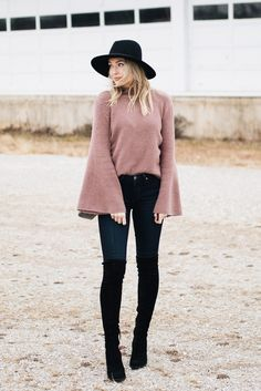 Sweater with bell sleeves, jeans, and over the knee boots outfit from Love Lenore.