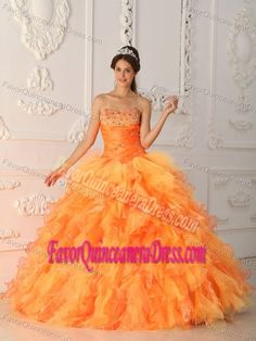 Hot Orange Ball Gown Sweetheart Beaded Quinceanera Dress with Ruffles