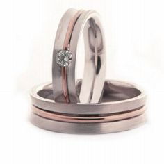 Shinny White And Rose 14k Gold His And Hers Wedding Bands 5mm comfort fit