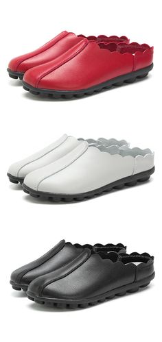 US$16.82 Large Size Comfortable Slip On Soft Flat Backless Loafers