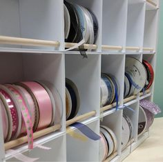 The Pro Ribbon Organizer uses the same style as our popular Classic Ribbon organizer! Quickly and easily remove any ribbon spool from the Pro Ribbon Organizer without having to remove others (no dowel Ribbon Organization, Ribbon Storage, Sewing Room Organization, Fabric Storage, Space Crafts, Home Crafts, Craft Space, Craft Shed, Hobby Room