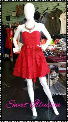 Red lace dress with satin sash! Perfect for homecoming!