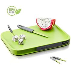 Amazon.com: Modern, Non-Slip Cutting Board with Hidden Compartments for Included Knife and Mini Fork Set, PBA Free Chopping Board, Green.: Kitchen & Dining