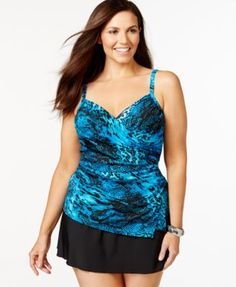 Miraclesuit Plus Size Printed Surplice Tankini Top & A-Line Swim Skirt | macys.com