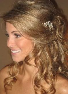 Half updo: Wedding hair or change the hair ornament & go for a casual stroll along the beach in a maxi & sandals or barefeet.