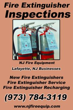 Fire Extinguisher Inspections Lafayette, NJ (973) 784-3119We're NJ Fire Equipment.. The Main Source for Fire Protection for New Jersey Businesses. Call Today!  We would love to hear from you.