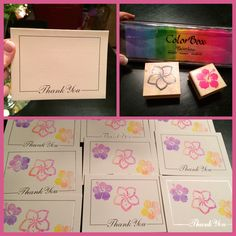Super easy Personalized - customized Thank You Cards for any occasion. Plain card packs at Michaels (can't remember if they are 8 or 10 cards) $1.50, Hawaiian stamps from http://www.mariandme.com, and colorbox stamp pad amazon $15.