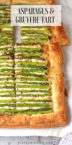 Gorgeous and impressive, this Asparagus Gruyere Tart makes for a delicious appetizer or main dish. It's also super EASY to make! #asparagustart #vegetabletart #asparagus #springmenuideas #easter #eastermenu #gruyere #pastry #baking #appetizer