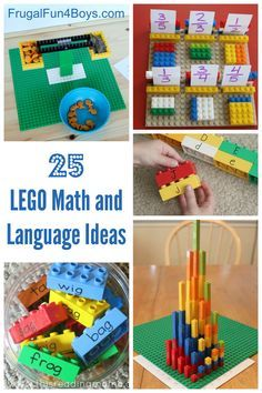25+ Ideas for Learning with LEGO! Math and Language Arts Ideas for preschool through third grade.