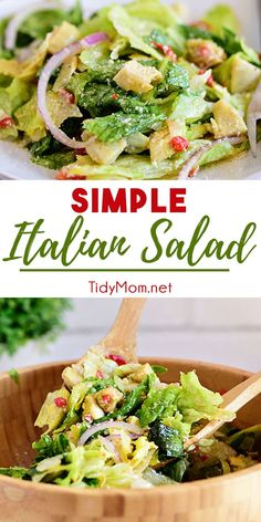 This Simple Italian Salad With Homemade Zesty Vinaigrette Pairs Perfectly With Any Italian Meal. It's Quick And Easy And Rivals Any Restaurant. Pair It With Cheesy Garlic Bread To Really Complete Your Meal Print The Recipe At Spinach Salad Recipes, Asparagus Recipe, Chicken Salad Recipes, Healthy Salad Recipes, Pasta Recipes, Simple Salad Recipes, Asparagus Salad, Crab Salad, Salmon Salad