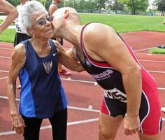 Great-great-grandma, age 99, sets record for 100 meter dash.