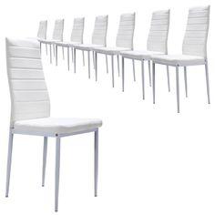 Très beau lot de chaises sellerie cuir-synthétique et en acier robuste de qualité. Des chaises à la parfaite stabilité garantie. Description détaillée du produit : Largeur 43 cm / Profondeur 52 cm / Hauteur 99 cm. Des chaises design de haute qualité et très faciles d'entretien (simili-cuir). Les pie