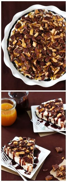 Heath Bar Ice Cream Pie -- unbelievably easy to make, and topped with caramel sauce, hot fudge, and chopped up Heath bars.    gimmesomeoven.com #dessert #pie #chocolate