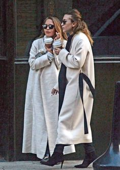 Olsens Anonymous Fashion Blog Mary Kate Ashley Olsen Twins Fall Winter Style Neutral Maxi Coats The Row Pointed Leather Flats Heel Boots