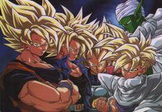 Goku, Trunks, Vegeta, Piccolo, and Gohan