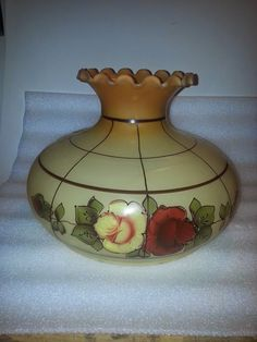 Vintage Glass Lamp Shade Hurricane Glass Shade Hand Painted fitter 9 in Flowers