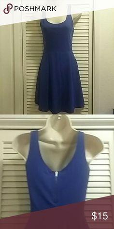Express Skater Dress Cobalt blue cotton spandex blend dress has zipper enclosure in the back. Express Dresses Mini