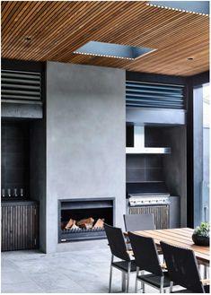 Alfresco kitchen with fireplace Outdoor Living Rooms, Living Spaces, Parrilla Interior, Alfresco Designs, Alfresco Ideas, Built In Braai, Outdoor Fireplace Designs, Outdoor Wood Fireplace, Modern Outdoor Kitchen