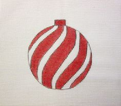 $9.95       Red Swirl Peppermint Christmas Ball Ornament Handpainted Needlepoint Canvas