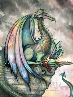 Fairy Dragon Fantasy Art Print by Molly Harrison 'Protector'. via Etsy. #dragon #fantasy #fairy