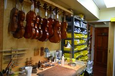 Violins waiting to be set up with a bridge, tailpiece and strings.