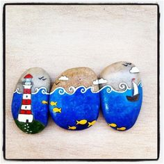 Painted stones ~~ A rock triptych ~~ love it.