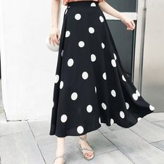 New Elegant Streetwear Polka Dot Skirt Women Loose Stretch High Waist Jupe Longue Femme A line Chiffon Summer Autumn Maxi Skirts Cheap Skirts, Maxi Skirts, High Waist, Streetwear, Polka Dots, Chiffon, Autumn, Clothes For Women, Elegant