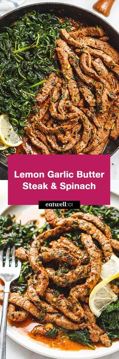 Lemon Garlic Butter Steak with Spinach - Tons of flavor and so easy to make! A quick low carb dinner you'll be crazy about.