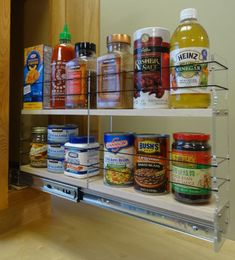 Spice Rack Drawer for Deep cabinet organization. Eliminate wasted space in the back of your deep cabinet.