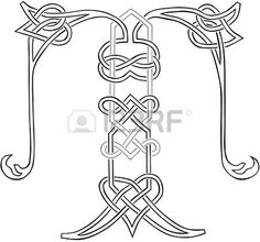 A Celtic Knot-work Capital Letter T Stylized Outline photo