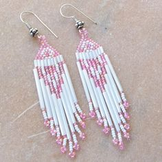 Rainbow Pink White Earrings