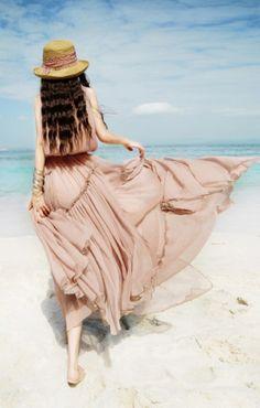 Pink O-neck Sleeveless Chiffon Maxi Beach Dress