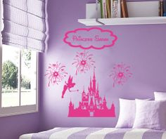 Vinyl wall sticker decal Disney Personalized Castle Fireworks Tinkerbell Fairy by kisvinyl, $23.99