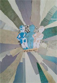 """Tableau """"C'est bien visé""""  Collage commandé par une amie qui souhaitait décorer son coin commodités avec un esprit vintage et une touche d'humour pour ces messieurs.  Dimension : 40 x 70 cm"""