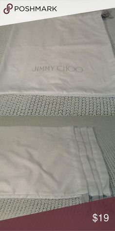100 %;A. JIMMY CHOO DUST BAGS White Jimmy Choo dust bags with gray pull string Jimmy Choo Accessories
