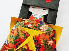 Chiyogami yuzen paper dolls kokeshi paper doll paper