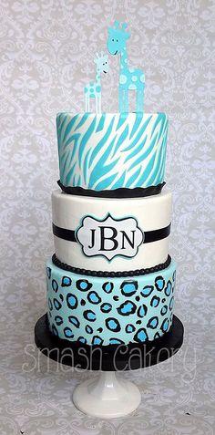 Safari cake, made like the invitation, turquoise, black, giraffe, zebra, animal print, leopard