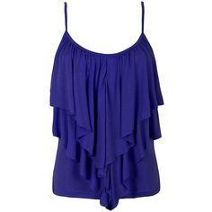 FRILL FRONT SINGLET (81 DKK) ❤ liked on Polyvore featuring tops, shirts, tank tops, tanks, ruffle front tank, ruffle front tank top, blue shirt, blue tank and ruffle front shirt