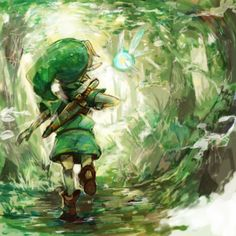 Young Link and Navi in Kokiri Forest. By Sin (Hitonatsu).