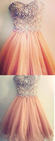 Sweetheart Homecoming Dress with lace back up, Blush Pink Short Prom Gown Lovely Ball Gown Beaded Tight Bodice Homecoming Dresses Sparkly Cocktails,Short Prom Dresses,Homecoming Dresses 2016,Cheap Homecoming Dress